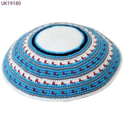 פאר התפילין- תשמישי קדושה לבית היהודי -כיפה סרוגה עבודת יד גוון כחולUK19180